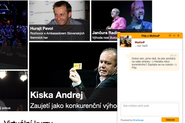 Chatbot Filip na webu Agentury MotivP