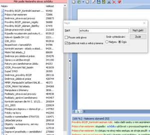 Ukázka fulltextového vyhledávání v programu